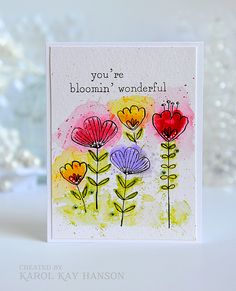 Whimsical water colored flowers made with MFT stamps