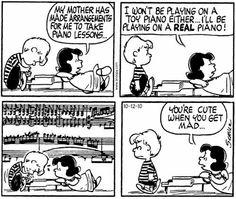 Lucy and Schroeder. Original publish date Oct 1963 Snoopy Cartoon, Snoopy Comics, Peanuts Cartoon, Peanuts Gang, Peanuts Comics, Fun Comics, Charlie Brown Comics, Charlie Brown And Snoopy, Music Jokes