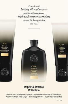 The Fountain of Youth for Hair has arrived! Check out the latest in ground-breaking anti-aging hair care from Oribe: The Gold Lust Repair & Restore Collection including hair oil & heat shied - acting as a stimulant, caffeine helps with scalp circulation and rejuvenates the hair follicles - the revolutionary bio-restorative complex reinforces the inner strength of each strand #goldlust...x