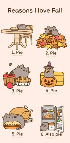 Kitty Likes Pie | Pusheen Cat Halloween gifs como estas imágenes animadas divertidas ...