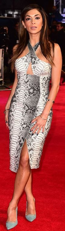 Nicole Scherzinger's snake print halter dress fashion id