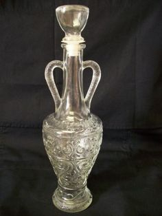 Vintage-Decanter-Wine-Bottle-Glass-Liquor-Bottle-Frosted-Double-Handles