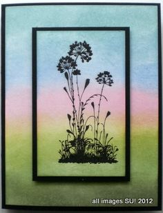 """By Karen Titus. Stamp flowers from """"Serene Silhouettes"""" by Stampin' Up in Memento Onyx Black on 3 3/4"""" x 2 1/4"""" white cardstock. Using removable adhesive, attach to 5 1/4"""" x 4"""" white cardstock. Sponge ink in stripes across the whole piece, blending as you sponge. Lift image panel. Attach it permanently to 4"""" x 2 1/2"""" black cardstock then to the sponged 5 1/4"""" x 4"""" cardstock piece then to a black card base. Easy! Video tutorial on website."""