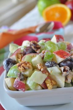 Waldorf Salad...tried this and it was good. Not worth keeping leftovers though as they became very watery.