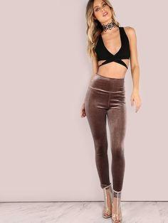 6b2601b6bb Velvet Leggings MOCHA -SheIn(Sheinside) Gym Pants, Yoga Pants, Velvet  Leggings