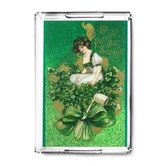 St Patrick Day Souvenir Woman Clover (Green) - Vintage Art (Acrylic Serving Tray)