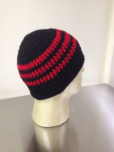 Skullcap, Beanie, Red and Black on Etsy, $18.00