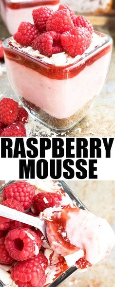 Fresh RASPBERRY MOUSSE recipe, made from scratch. It\'s smooth and creamy and has a brownie base. Great as a raspberry mousse filling  for cakes and cupcakes {Ad}. From cakewhiz.com