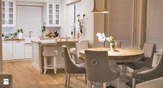 Jadalnia, styl eklektyczny - zdjęcie od Ewa Weber - Pracownia Projektowa Dining Table, Kitchen, Dom, Furniture, Home Decor, Drawing Rooms, Cuisine, Dinning Table, Kitchens