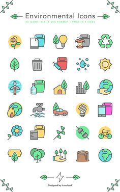 A set of 30 sharp looking and colorful environmental icons in AI, SVG and PNG format in 5 ready-to-use sizes.