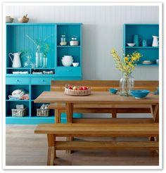 cozinha azul turquesa madeira