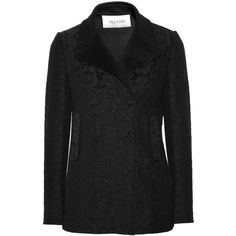 Valentino Lace-covered wool and cashmere-blend coat ($4,690) ❤ liked on Polyvore