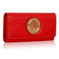 Peňaženka so zlatou brošňou Onna, červená 14930