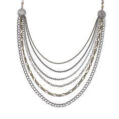 """-FIFTH AVENUE- """"Varying strands of antique silver and gold increase from delicate to bold for a dynamic necklace that will compliment"""" http://LMAWBY.mialisia.com"""