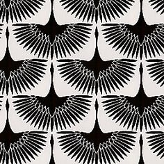 Eye-catching velvet flocked print of abstract black cranes, soaring side by side on natural linen. This flocked black & white bird fabric is available by the yard and on most Loom custom furnishings. Black And White Fabric, Black And White Abstract, Black White, Drapery Fabric, Fabric Decor, Curtains, Design Crafts, Design Art, Upholstered Rocking Chairs