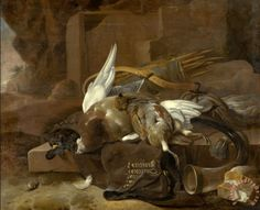 size: Art Print: On a Stone Plinth are a Duck and a Partridge Hunting Gear by Melchior d'Hondecoeter : Framed Artwork, Framed Prints, Art Prints, Gear Art, Dutch Golden Age, Old Money, Dutch Painters, Hunting Gear, Partridge
