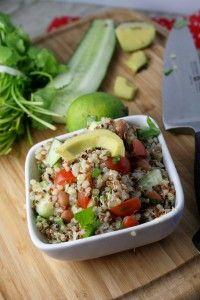 Mexican Quinoa Salad recipe from @TessaDomesticDi