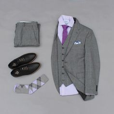 Sunday's Best. Nothing like purple gray and black. Love putting these colors together. What do you think? Shoes: @justamenshoe Tie: @lookgreatlw Pocket Square: @otaa.australia Socks: @vybesocks Shirt: @charlestyrwhitt 3 Piece Suit: @jonesnewyork