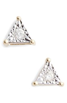 Free shipping and returns on Dana Rebecca Designs Emily Sarah Diamond Triangle Stud Earrings at Nordstrom.com. The twinkle is turned up by the reflective 14k-gold setting surrounding the center diamond of these petite triangular earrings.