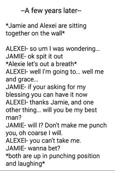 This is accepted... Alexei and Grace forever