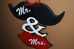 Mustache and Lips Mr. and Mrs. Wood Cutout