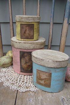 Primitive Pastel Stackable Pantry Paper Mache Boxes with Easter Labels. $24.98, via Etsy.