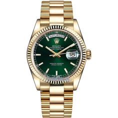 Rolex Day-Date 36mm Yellow Gold Fluted Bezel 118238 Green Index... ($25,707) ❤ liked on Polyvore featuring jewelry, watches, gold wrist watch, polishing gold jewelry, green gold jewelry, gold jewellery and gold wristwatches