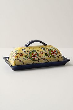 The paint on this butter dish from Anthropologie reminds me of hand-painted dishes in Spain.
