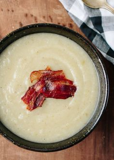 Recipe: Slow-Cooker Celery Soup with Bacon. Slow-Cooker Celery Soup with Bacon  Serves 4 to 6 1 bunch celery (about 1 1/2 pounds) 1 large yellow onion 1 pound small white potatoes 3 garlic cloves 4 cups chicken stock or low-sodium chicken broth 1/2 teaspoon salt, plus more to taste 1/2 teaspoon white pepper 1/3 cup heavy cream, milk, water, or additional stock 4 to 6 slices thick-cut bacon