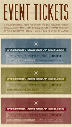 Concert Ticket Template Free Download Beauteous Concert & Event Ticketspasses  Version 3  Pinterest  Event .