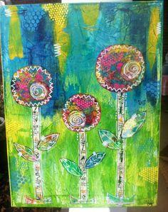 Original art. Mixed media Flowers. Happy. Bright Art. 18x24