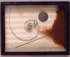 Untitled (Sand box with exotic seashell wire coil miniature pearls and pink sand) - Joseph Cornell
