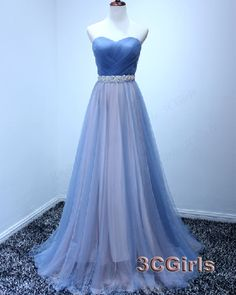 Sweetheart dress for teens, unique teal long ball gown, 2016 strapless blue tulle handmade homecoming dress http://www.3cgirls.com/#!product/prd1/4285461725/strapless-blue-tulle-handmade-homecoming-dress #promdress