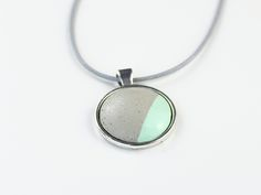 Design Beton Kette - Silber Mint Candy 80cm