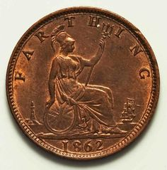 Description: A beautiful about uncirculated or much better 1862 quarter penny or farthing bronze coin from the United Kingdom. The coin, which has a plain edge,