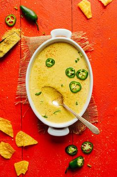 7-ingredient vegan queso with spicy roasted jalapeño, smoky spices, and cheesy flavor from nutritional yeast. The creamiest dairy-free cheese on the block.