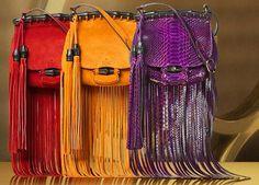 Borse Gucci con frange primavera estate 2014 viola gialle e rosse
