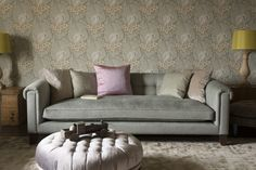 Mitford Lounger in Monty Applemint with Boothby Round Ottoman in Ibsen Velvet Violet Grey