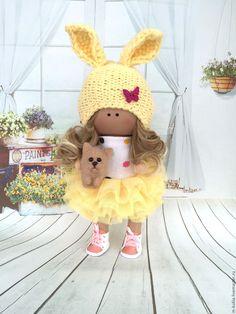 Купить Девочка с котенком - лимонный, кукла ручной работы, кукла, кукла в подарок, кукла интерьерная