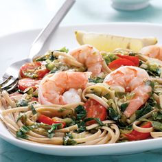 Lots of tangy lemon, fresh tomatoes, escarole, and shrimp create an incredible sauce for whole-wheat pasta. Serve with a glass of Sauvignon Blanc and whole-grain bread.