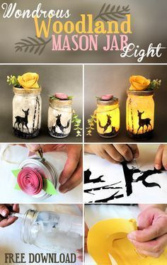 Woodland Mason Jar Lights - Not your typical mason jar light, these wondrous woodland silhouettes will bring a whimsical touch of nature into your home. Get your free download now!