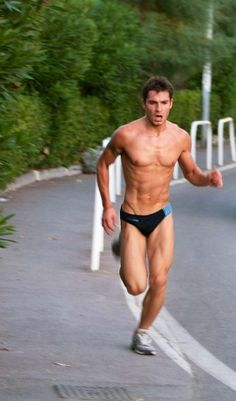 Wish I looked as good as him when jogging in a speedo.