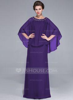 Vestido tubo Escote redondo Hasta el suelo Chifón Vestido de madrina con Bordado (008025717)