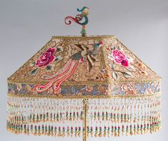 Antique Chinese Phoenix Beaded Victorian Lampshade and Floor Lamp