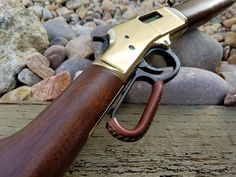 HENRY LEVER WRAP KIT - A beautiful addition to any lever-action rifle, this premium quality leather wrap kit makes it easy for you to add a whole new dimension to the look and feel of your Henry. These snug fitting lever wraps soften the edges of your lever and greatly increase comfort. Henry Rifles, Lever Action Rifles, Custom Wraps, Different Stitches, Leather Holster, Leather Working, Firearms, Shotguns, Kit