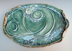 Serving Dish Tray with Handles Sunrise Sunset Blue Green Pottery Slab Built Platter Water. Hand Built Pottery, Slab Pottery, Pottery Bowls, Ceramic Pottery, Pottery Designs, Pottery Ideas, Clay Plates, Pottery Making, Pottery Throwing