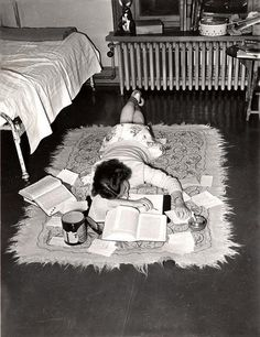 An exhausted student gives up. Connecticut, 1947