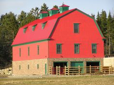 This is a red barn somewhere on the east coast of Nova Scotia, Canada.
