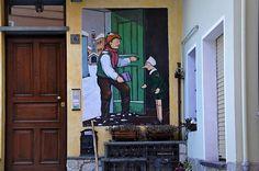 Vernante - I pinocchi di Mussino    A Vernante (Piemonte) è vissuto Aldo Mussino. I muri delle case sono dipinti con le sue illustrazioni di Pinocchio. Charming village in Piemonte filled with murals of Pinnochio as the illustrator Mussino was a resident and the townspeople made an outdoor memorial to his work.