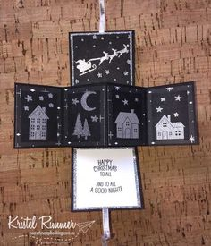 Mini Pop And Twist Collage Open with Basic Black, Glimmer Paper Silver, Whisper White, Merry Music Specialty DSP, Hometown Greetings Edgelits, Hearts Come Home Stamp Set, Santa's Suit Stamp Set, Stampin' Emboss Powder Silver and 1/8 inch (3.2mm) Silver Ribbon - Secretly Scrapbooking (Bunbury, WA)
